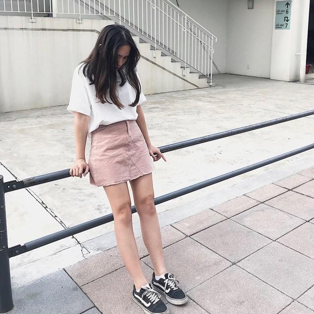 Chân váy nhung hồng