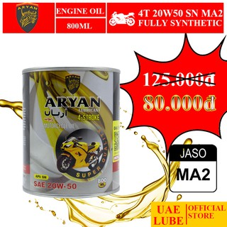 Nhớt Tổng Hợp ARYAN 20w50 800ml SN JASO MA2 - Dùng Cho Xe Mô Tô, Xe Số - ARYAN FULLY SYNTHETIC SAE 20W50 JASO MA2 API SN