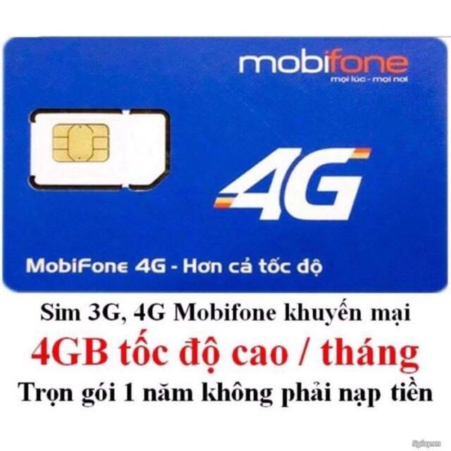 SIM 4G MOBI GÓI MDT250 KM 4GB/THÁNG SD NGUYÊN 1 NĂM 48GB KHÔNG CẦN NẠP TIỀN