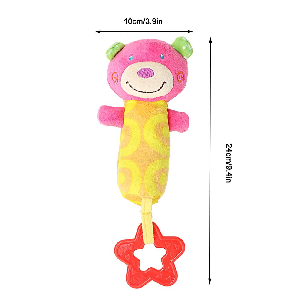 Cartoon Cute Stroller Gift Soft Infant Plush Bell Baby Mobile Toys Hand Animal