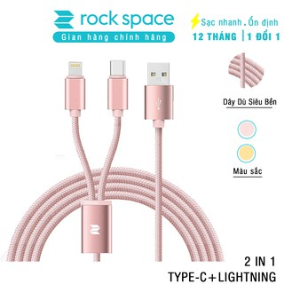 [Mã 2404EL10K giảm 10K đơn 20K] Cáp 2 cổng Lightning/USB-C Rock Space RCB0477 1.2m dây dù (Hồng)