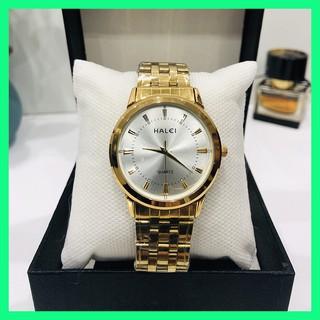 Đồng hồ nam HALEI 502 chống nước chống trầy dây vàng tặng pin