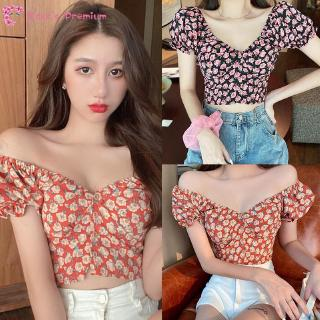 Coco-Women's Fashion Small Floral Print V-Neck Sexy Sweet Short Sleeve Chiffon Shirt Blouse Tops