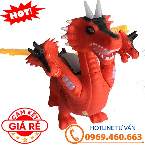 Khủng long 3 đầu chạy pin, có nhạc, có đèn, có cánh. Mô hình khủng long đồ chơi cho bé trai.
