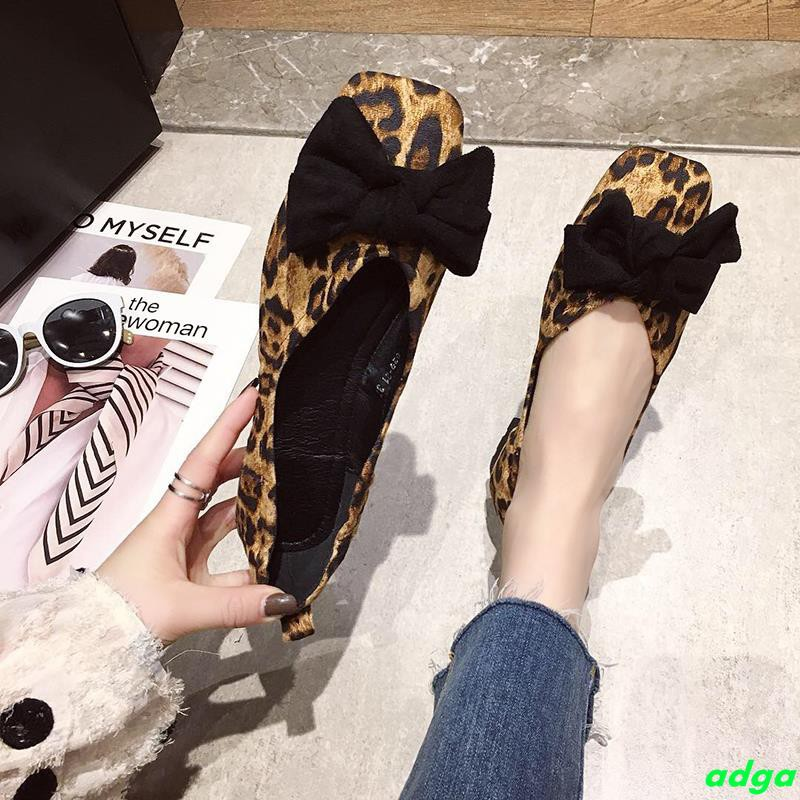 Leopard 2019 new spring flat shoes women's wild Korean version of a pedal bow net red casual peas shoes