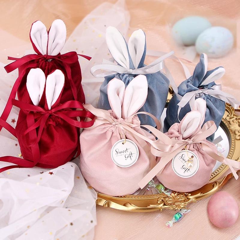 Túi Nhung Đựng Bánh Kẹo Tạo Hình Tai Thỏ Dễ Thương