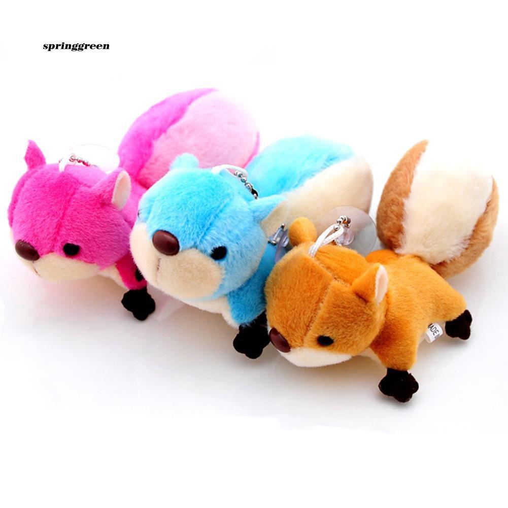 SPR♥Lovely Plush Squirrel Stuffed Doll Toy Key Chain Phone Bag Pendant Hanging Decor