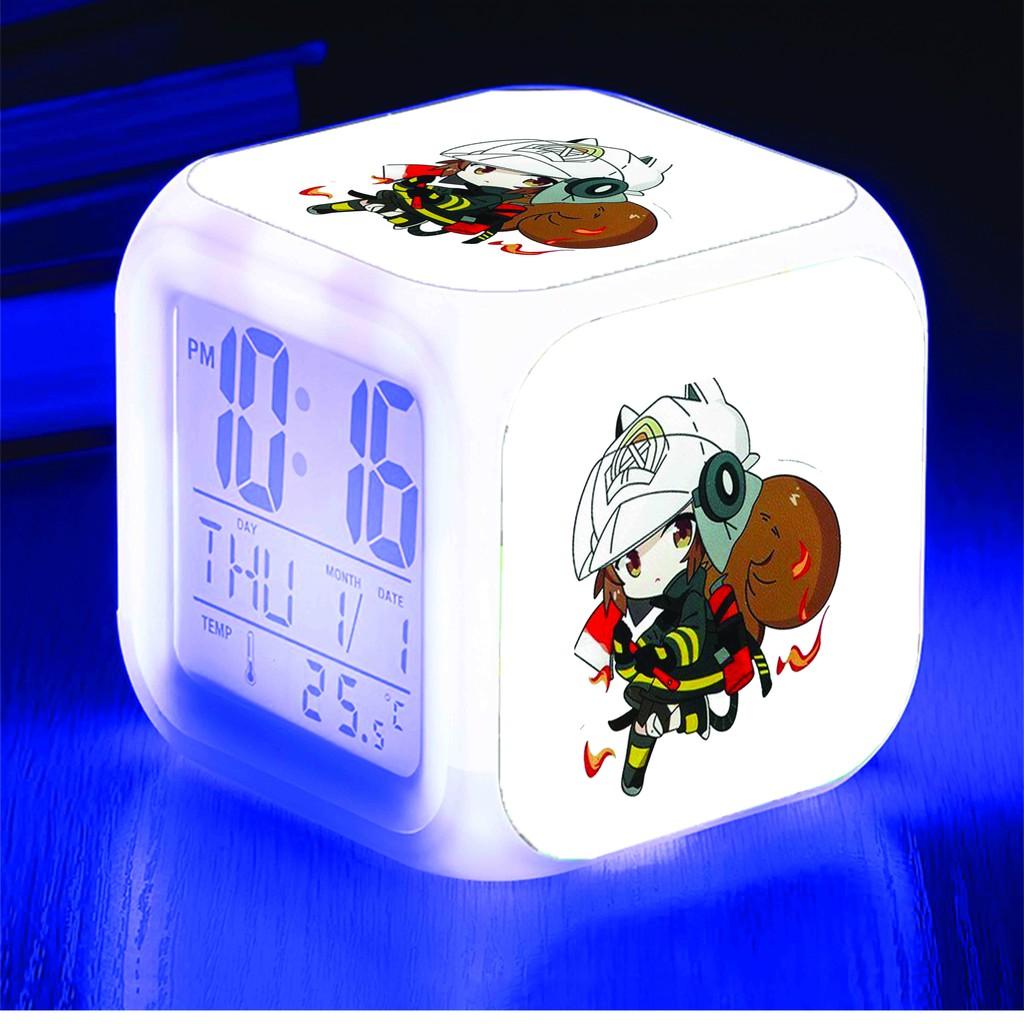 Đồng hồ báo thức để bàn in hình ARKNIGHT game anime chibi LED đổi màu