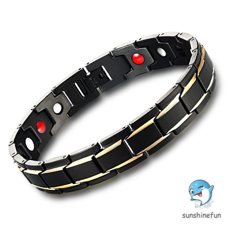 Fashion Titanium Steel Man Hologram Bracelets & Bangles Magnetic Health Protection Cool Punk Men Bra