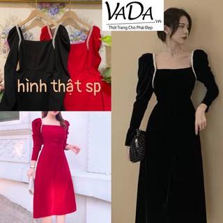 Đầm dự tiệc dáng xoè tay dài xếp viền nách hạt ngọc xoè nhẹ sang chảnh - Thời trang VADA - Đ100 thumbnail