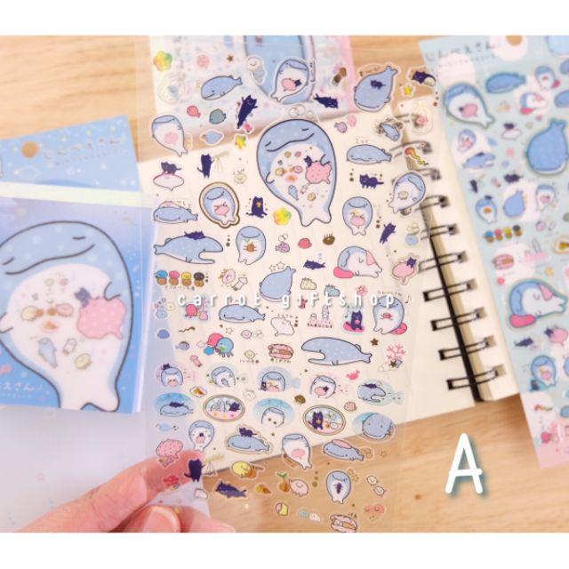 สติกเกอร์ pvcใส Sticker ปลาวาฬจินเบ Jinbe