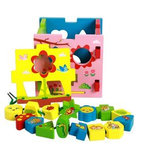 [Ana Kids] Đồ chơi hộp thả khối màu kèm xâu hạt cho bé FRESHIP 99k