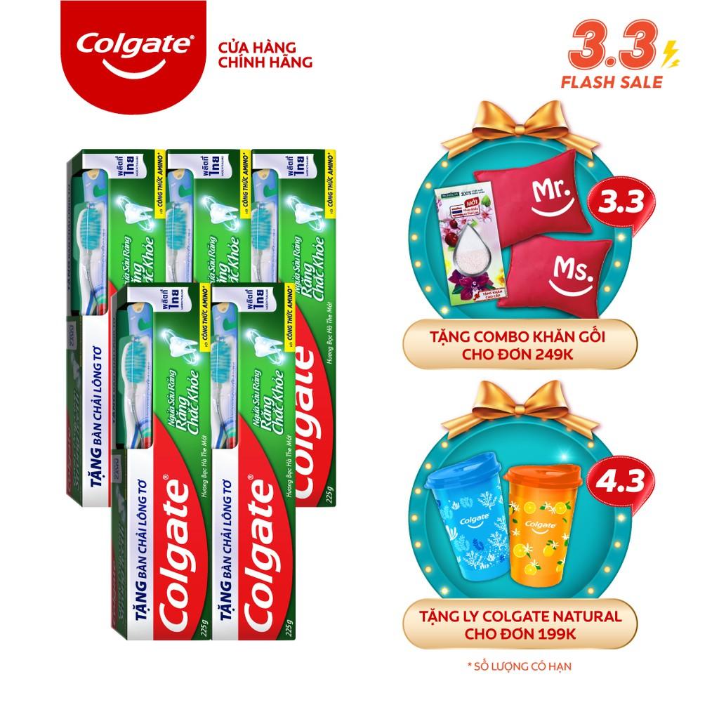 Bộ 5 Kem đánh răng Colgate ngừa sâu răng tối đa 225g/hộp tặng bàn chải đánh răng lông tơ