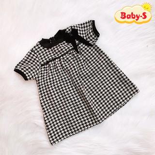 Đầm dạ nơ đen cao cấp tay phồng sang trọng cho bé 1-7 tuổi chất dạ đan dày dặn có lót trong Baby-S – SD073