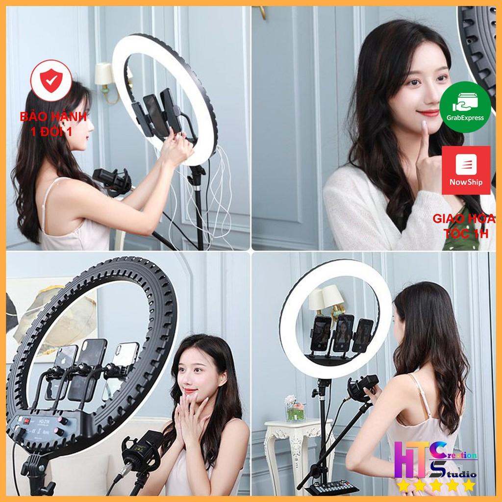 Bộ Đèn Livestream bán hàng, Chụp Ảnh, Trang Điểm Make Up, Phun Săm, ba màu  ánh sáng- 45/34/30/26/16 cm chính hãng 235,000đ