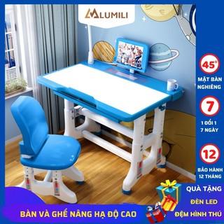 [tặng đèn led + đệm ghế] bộ bàn ghế chống gù chống cận bàn học thông minh cho học sinh điều chỉnh độ cao 50x70 t500