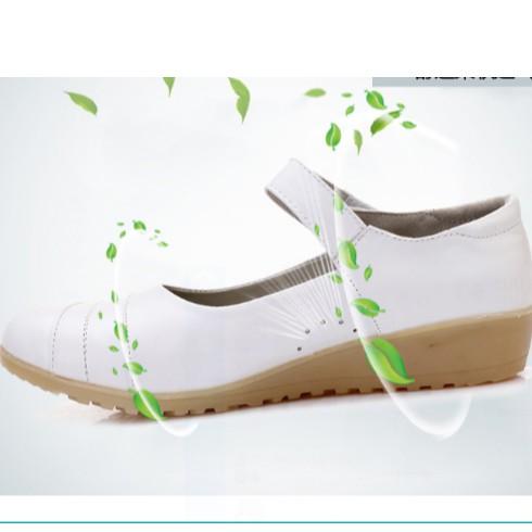 Giày y tá mùa hè-  dép trắng-  giày nữ- giày búp bê- giày đi trong bệnh viện- giày y tá thoáng khí, thoải mái