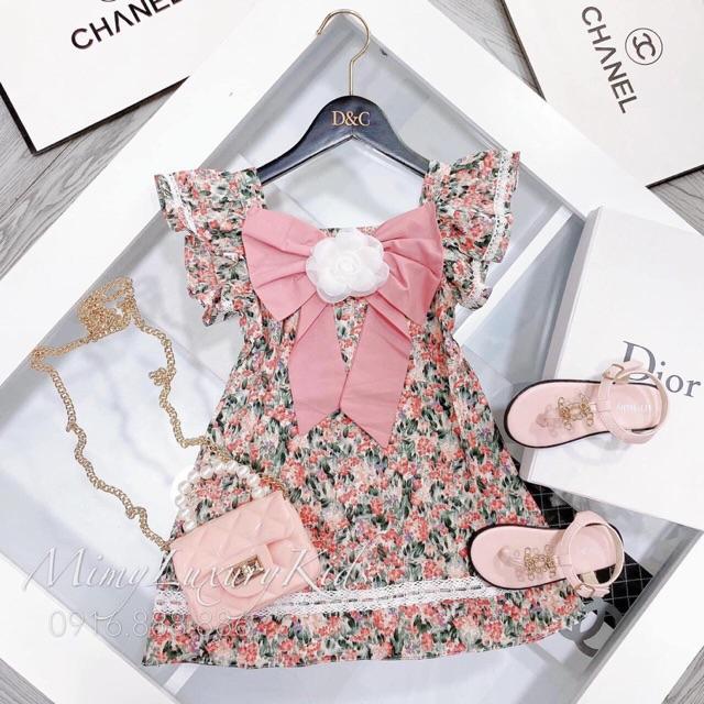 Váy nơ ren hoa trà trắng bản to
