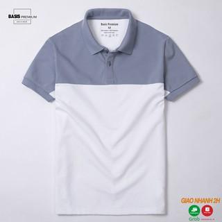 [Mua 2 giảm 20%] Áo thun polo nam phối màu xanh trắng, thiết kế đơn giản Basis APL59