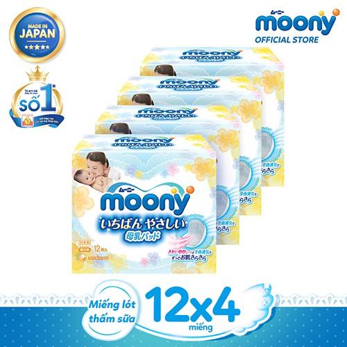 Bộ 4 hộp Miếng lót thấm sữa Moony (12 miếng/hộp)