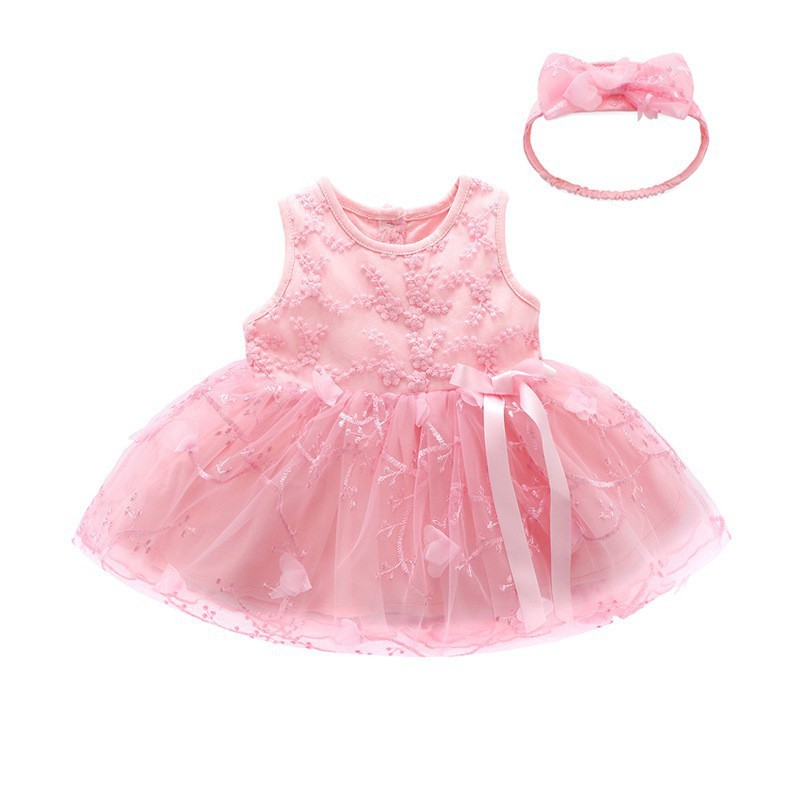 Sét váy ren thêu hoa hồng thôi nôi đầy tháng cho bé kèm băng đô siêu xinh hàng cao cấp