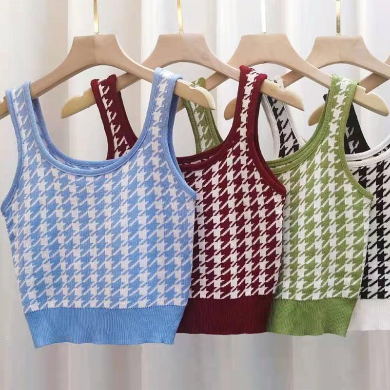 Áo Dệt Kim Hai Dây Cổ Vuông Thời Trang Mùa Xuân Retro