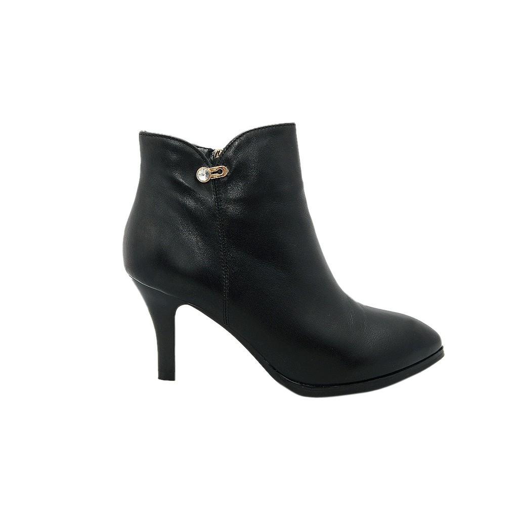 Bốt nữ cao gót 7 cm da bò thật cao cấp màu đen ESW214
