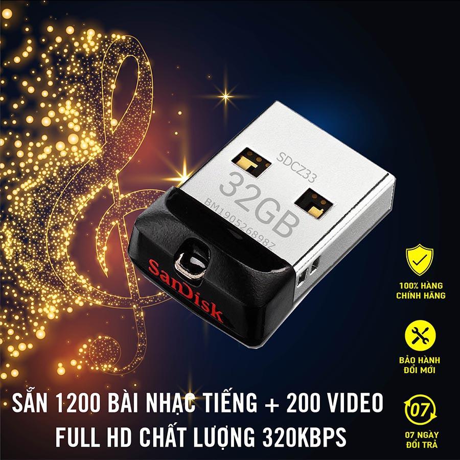 USB Ô tô 32GB Tiếng+Hình, Usb nhạc ô tô Cắm là nghe, Full 1200 bài nhạc MP3 + 200 Video, Phụ kiện ô tô, Đồ chơi ô tô