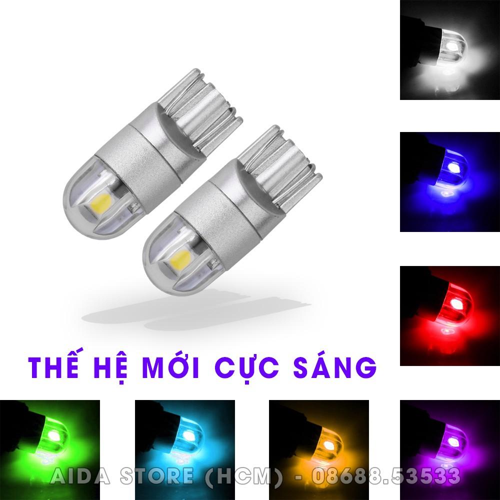 Cặp - 02 bóng đèn - LED demi, xi nhan T10 2SMD 3030 siêu sáng