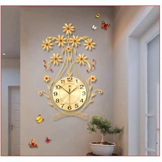 đồng hồ treo tường bình hoa xinh xắn