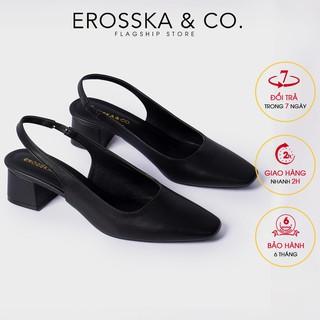 Carl & Ane - Giày cao gót mũi vuông gót hở phối dây quai mảnh cao 5cm màu đen - EL016