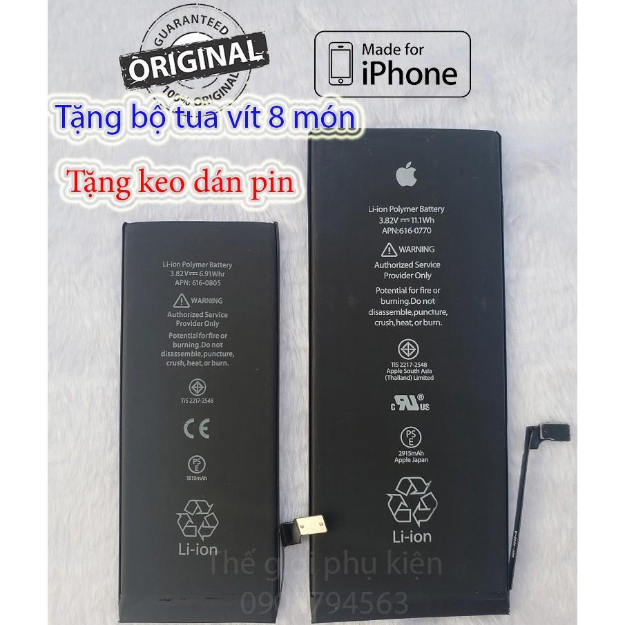 Pin iPhone 5/ 5s/ 5se/ 6/ 6p/ 6s/ 6sp/ 7/ 7p/ 8/ 8p /X ,tặng keo dán pin,tặng bộ tua vít 8 món