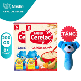 [Tặng Lục Lạc Gấu Cầm Tay] Combo 2 Hộp Bột Ăn Dặm Nestlé Cerelac Gạo Sữa Và Gà Hầm 200g Hộp thumbnail