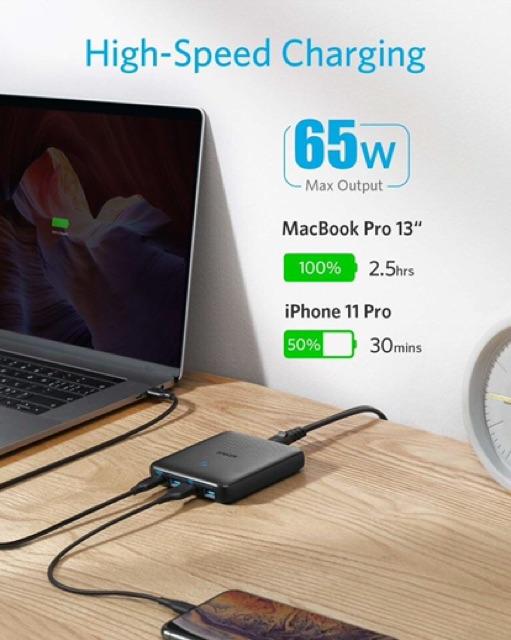 [Mã 267ELSALE hoàn 7% đơn 300K] Sạc Anker 4 Cổng PowerPort 3 Slim 65W Gan- IQ3.0 (A2045)