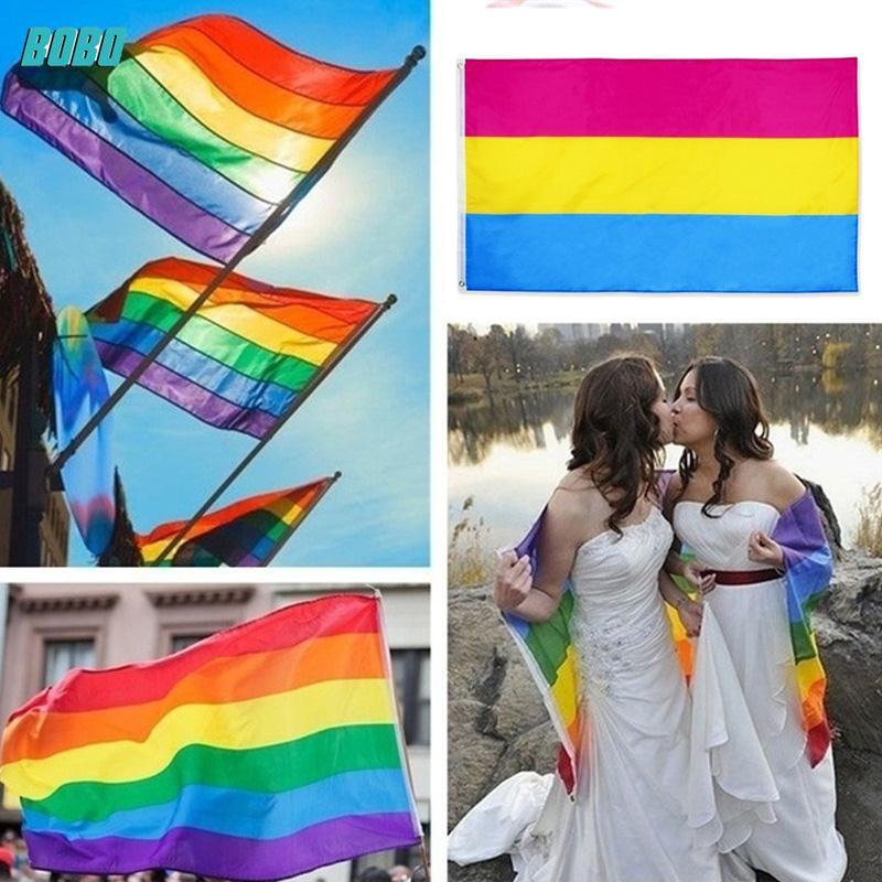 [Bobo] Creative Banner Rainbow Rectangle Lesbian Flag Large Pride Flag 3x5ft