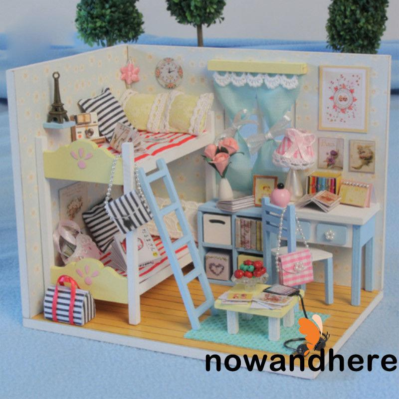 HEE-DIY Handcraft LED Wooden Dollhouse Miniature Furniture Kit Toy Doll House