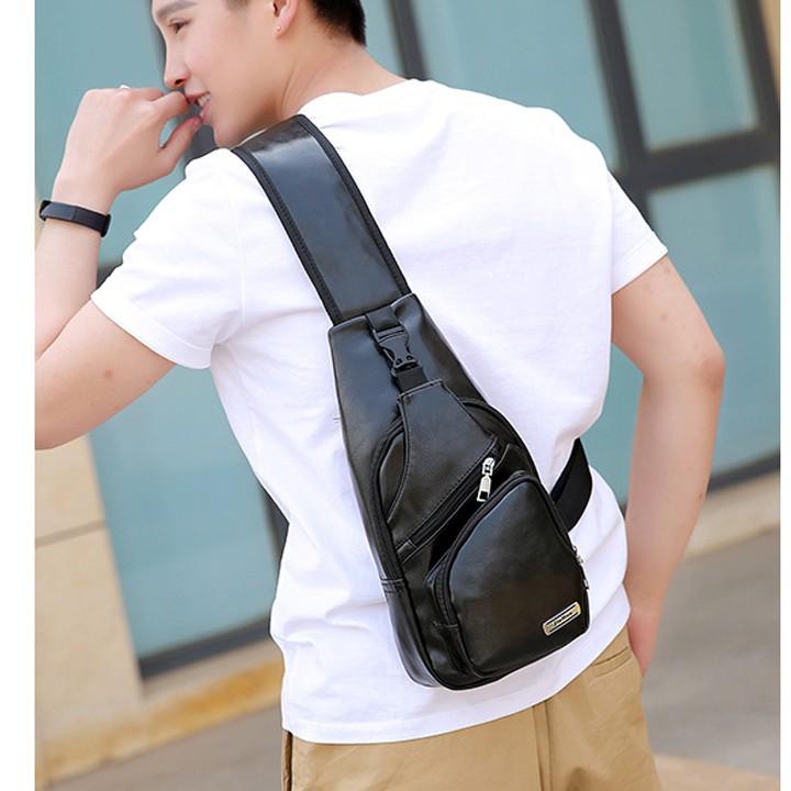 Túi DA đeo chéo nam cao cấp tích hợp cổng sạc USB ngoài TX00063