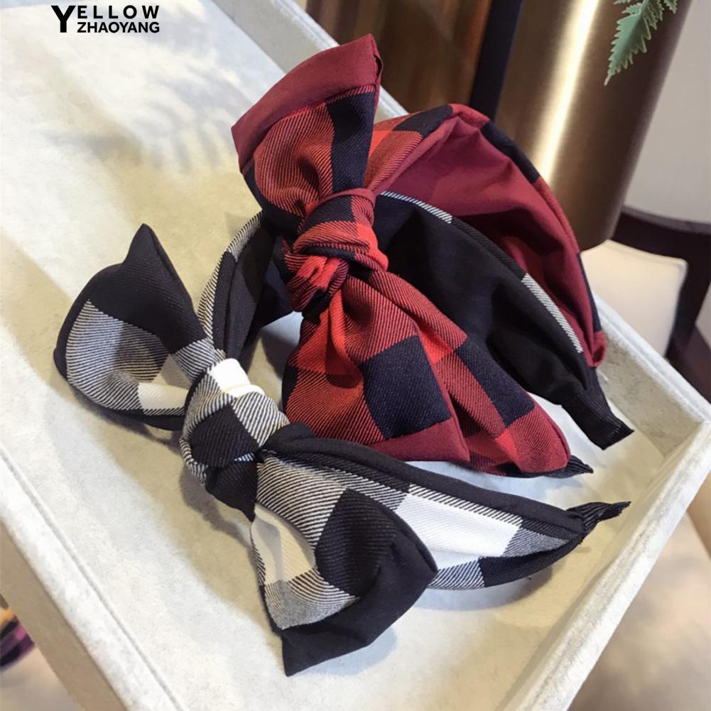Zhao🌟 Girls Colorful Plaid Print Big Bowknot Beaded Women Headband
