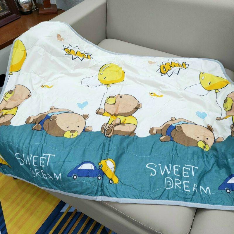 Chăn cho bé vải cotton đũi mềm mịn thoáng mát, mềm chăn hè thu cho bé đi học 1m1x1m5
