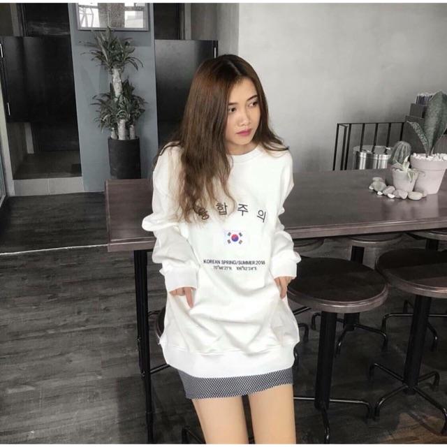 Áo Sweater Form Rộng Cờ Hàn Quốc