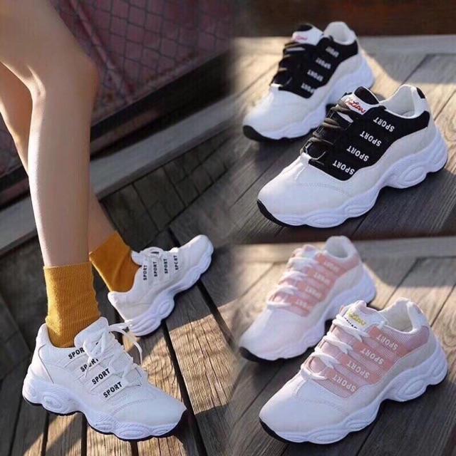 Giày thể thao viền đế cong sport 3 màu hot hit