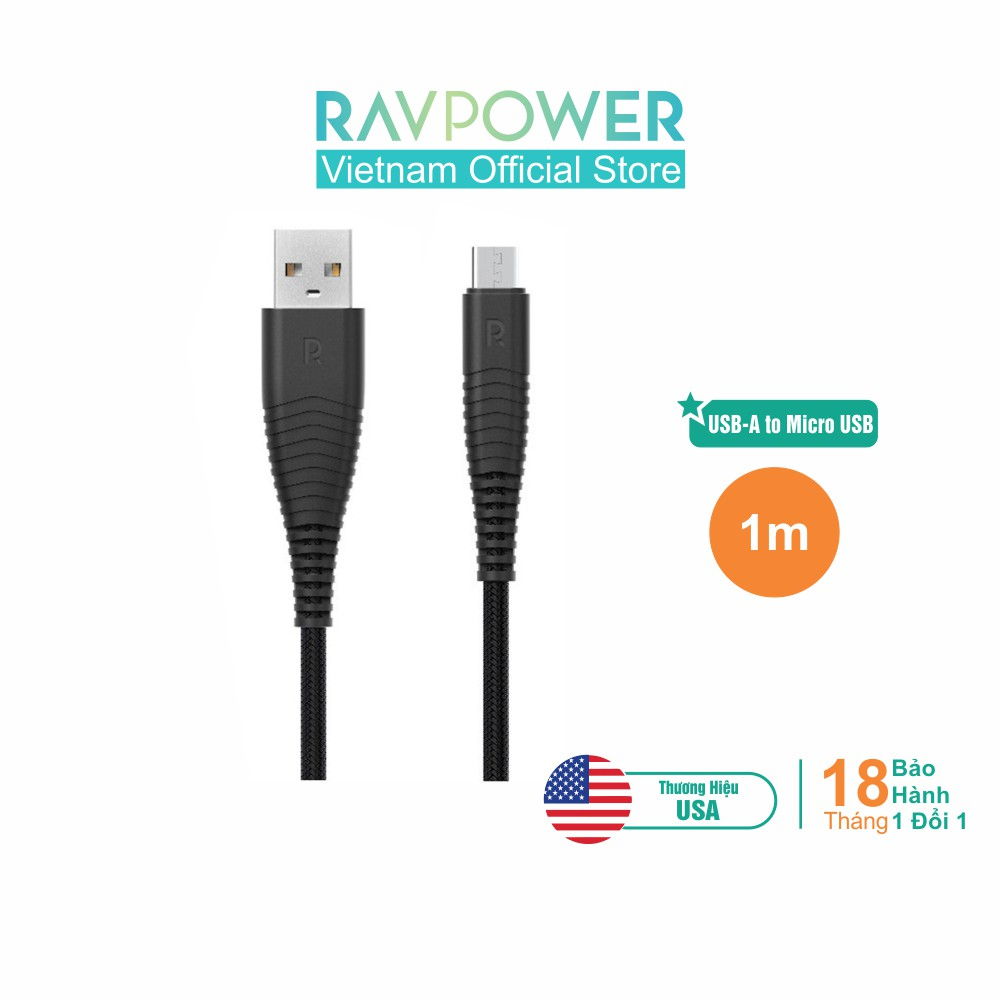 Dây Cáp Sạc MicroUSB RAVPower 1m - RP-CB048 - Hàng Phân Phối Chính T