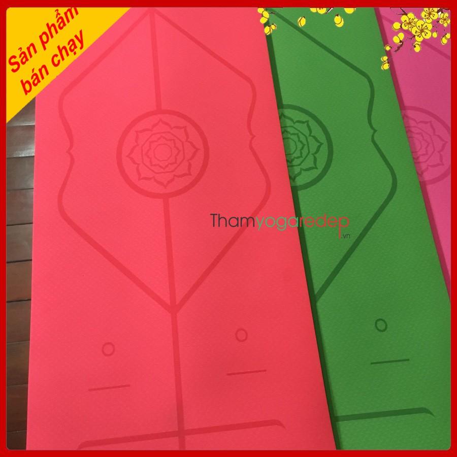 Thảm Tập Yoga Định Tuyến TPE Loại 1 dầy 8mm 1 lớp và 6mm 2 lớp , túi chống nước Cao Cấp .(Tặng kèm dây buộc thảm) 2021