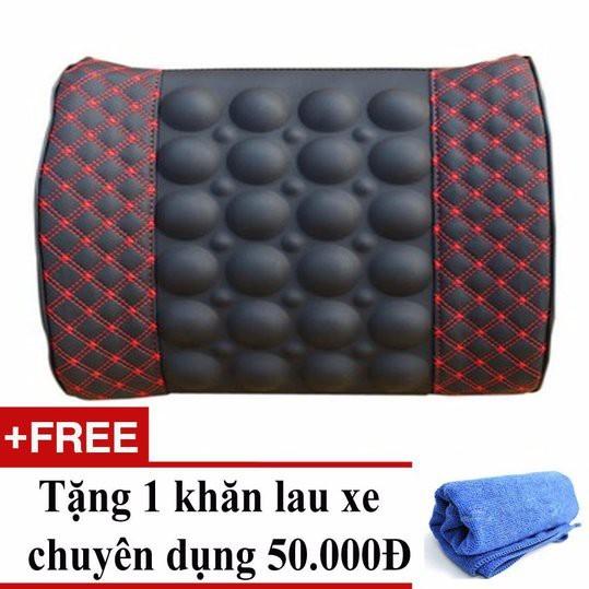 Gối tựa lưng massage + Tặng 01 khăn lau xe chuyên dụng