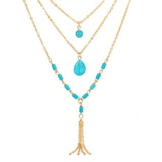 【On Sale】 Turquoise Tassel Phụ kiện tóc Multi-level Bohemian Ethnic Style