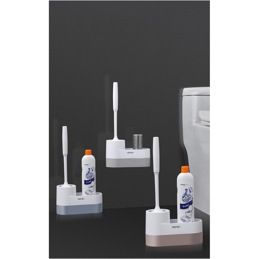 Cây chổi cọ nhà vệ sinh dụng cụ cọ rửa nhà tắm,toilet cao cấp OENON có thêm ngăn chứa đồ lắp đặt dán tường tiện lợi