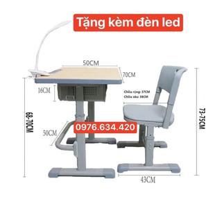 Bộ bàn ghế học sinh thông minh, tăng chỉnh độ cao tuỳ ý, bàn đẹp chắc chắn phù hợp mọi lứa tuổi. Tặng kèm đèn led