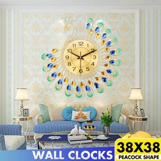 Đồng hồ treo tường bằng kim loại hình chim công phong cách Châu Âu trang trí cho nhà 38x38cm
