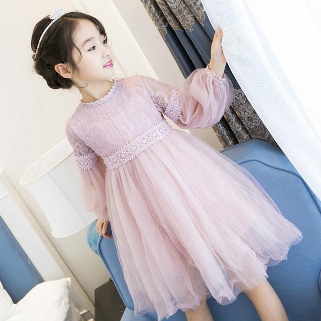 Đầm công chúa vải ren voan thời trang dự tiệc cho bé gái