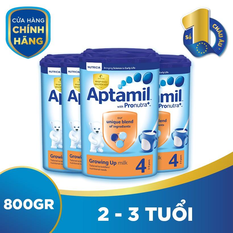 Bộ 4 hộp sữa bột dinh dưỡng công thức Aptamil số 4 (800g/hộp)